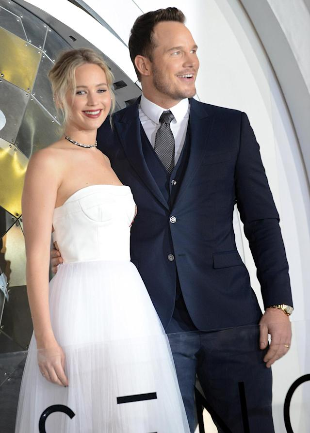 """<p>Lawrence and Pratt were all smiles during the Los Angeles premiere. The two become fast friends during the filming of the romantic drama set in space. Pratt <a href=""""http://www.mtv.com/news/2870626/chris-pratt-jennifer-lawrence-passengers/"""" rel=""""nofollow noopener"""" target=""""_blank"""" data-ylk=""""slk:told MTV News"""" class=""""link rapid-noclick-resp""""><span>told MTV News</span></a> at CinemaCon that they """"bonded over a mutual love of <i>Dumb & Dumber</i>. [And] just like jokes and life."""" (Photo: Getty Images) </p>"""