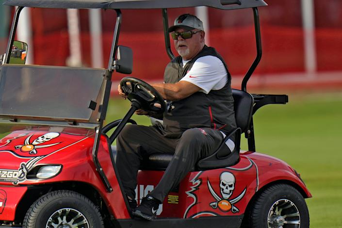 Tampa Bay Buccaneers head coach Bruce Arians watches during an NFL football practice Tuesday, July 27, 2021, in Tampa, Fla.