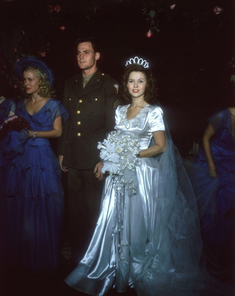 """<p>More than 500 guests joined the couple at the Wilshire Methodist Church in Los Angeles when they said """"I do"""" on September 9, 1945. A reception at Shirley's home followed, before they departed on their honeymoon. </p>"""