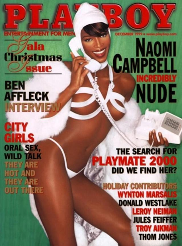 <p>The British supermodel stripped down for the 1999 Christmas <em>Playboy</em> issue. Posing in a controversial white fur coat, Campbell ended up in a 14-page nude spread in the mag. (Photo: Playboy) </p>