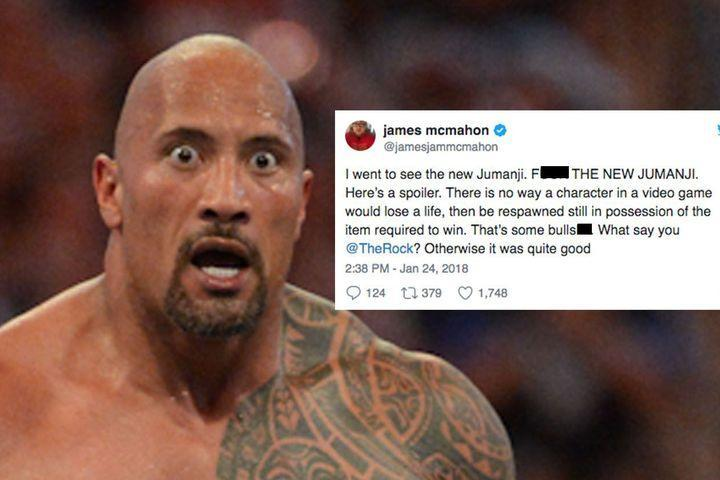 "<p>If you dare to question The Rock on Twitter, you'd better understand that you're just one tweet away from getting digitally people's elbowed into oblivion.</p> <p>Still, every now and again people still try it.</p> <div><p>SEE ALSO: <a href=""http://mashable.com/2017/12/22/the-rock-kevin-hart-insult-each-other/"" rel=""nofollow noopener"" target=""_blank"" data-ylk=""slk:Kevin Hart and The Rock traded insults for 5 minutes and things got real brutal, real fast"" class=""link rapid-noclick-resp"">Kevin Hart and The Rock traded insults for 5 minutes and things got real brutal, real fast</a></p></div> <p>On Thursday, James McMahon decided to call out the people's champion directly. His issue? A plot point in the new <em>Jumanji</em> movie.</p> <div><div><blockquote> <p>I went to see the new Jumanji. FUCK THE NEW JUMANJI. Here's a spoiler. There is no way a character in a video game would lose a life, then be respawned still in possession of the item required to win. That's some bullshit. What say you <a href=""https://twitter.com/TheRock?ref_src=twsrc%5Etfw"" rel=""nofollow noopener"" target=""_blank"" data-ylk=""slk:@TheRock"" class=""link rapid-noclick-resp"">@TheRock</a>? Otherwise it was quite good</p> <p>— james mcmahon (@jamesjammcmahon) <a href=""https://twitter.com/jamesjammcmahon/status/956174474444967936?ref_src=twsrc%5Etfw"" rel=""nofollow noopener"" target=""_blank"" data-ylk=""slk:January 24, 2018"" class=""link rapid-noclick-resp"">January 24, 2018</a></p> </blockquote></div></div> <p>Half an hour later, Dwayne ""The Rock"" Johnson himself responded. And he wasn't pulling any punches.</p> <div><div><blockquote> <p>Actually my friend, in the JUMANJI Lore Handbook, it clearly states in article 72 of section 7, that ""any character who loses a life, shall return to their original state with any item they possessed at the time of their demise"". So kindly go f*ck yourself James.</p> <p>— Dwayne Johnson (@TheRock) <a href=""https://twitter.com/TheRock/status/956180151733166080?ref_src=twsrc%5Etfw"" rel=""nofollow noopener"" target=""_blank"" data-ylk=""slk:January 24, 2018"" class=""link rapid-noclick-resp"">January 24, 2018</a></p> </blockquote></div></div> <p>Ouch.</p> <p>Cue an onslaught of well-timed wrestling GIFs.</p> <div><div><blockquote> <p><a href=""https://t.co/v3vi1l9ijp"" rel=""nofollow noopener"" target=""_blank"" data-ylk=""slk:pic.twitter.com/v3vi1l9ijp"" class=""link rapid-noclick-resp"">pic.twitter.com/v3vi1l9ijp</a></p> <p>— Shong (@ShoBusyLivin) <a href=""https://twitter.com/ShoBusyLivin/status/956184242446372865?ref_src=twsrc%5Etfw"" rel=""nofollow noopener"" target=""_blank"" data-ylk=""slk:January 24, 2018"" class=""link rapid-noclick-resp"">January 24, 2018</a></p> </blockquote></div></div> <div><div><blockquote> <p>And that's why you don't mess with The Rock <a href=""https://t.co/Haaby9hT6i"" rel=""nofollow noopener"" target=""_blank"" data-ylk=""slk:pic.twitter.com/Haaby9hT6i"" class=""link rapid-noclick-resp"">pic.twitter.com/Haaby9hT6i</a></p> <p>— Adam Advocaat #ActuallyAutistic (@Moofey17) <a href=""https://twitter.com/Moofey17/status/956181555793178625?ref_src=twsrc%5Etfw"" rel=""nofollow noopener"" target=""_blank"" data-ylk=""slk:January 24, 2018"" class=""link rapid-noclick-resp"">January 24, 2018</a></p> </blockquote></div></div> <div><div><blockquote> <p><a href=""https://t.co/OBhyvrAAh4"" rel=""nofollow noopener"" target=""_blank"" data-ylk=""slk:pic.twitter.com/OBhyvrAAh4"" class=""link rapid-noclick-resp"">pic.twitter.com/OBhyvrAAh4</a></p> <p>— Glenn Moore (@GlennMooreCLE) <a href=""https://twitter.com/GlennMooreCLE/status/956238938070552577?ref_src=twsrc%5Etfw"" rel=""nofollow noopener"" target=""_blank"" data-ylk=""slk:January 24, 2018"" class=""link rapid-noclick-resp"">January 24, 2018</a></p> </blockquote></div></div> <p>Luckily, the whole thing had a fairly sweet ending.</p> <div><div><blockquote> <p>THE ROCK IS THE GREATEST HUMAN <span>https://t.co/6SiBbySiYC</span></p> <p>— james mcmahon (@jamesjammcmahon) <a href=""https://twitter.com/jamesjammcmahon/status/956181327904206848?ref_src=twsrc%5Etfw"" rel=""nofollow noopener"" target=""_blank"" data-ylk=""slk:January 24, 2018"" class=""link rapid-noclick-resp"">January 24, 2018</a></p> </blockquote></div></div> <div><div><blockquote> <p>I mean thankfully we always have the trusted Jumanji handbook for the rules lol</p> <p>— Dwayne Johnson (@TheRock) <a href=""https://twitter.com/TheRock/status/956183064576638976?ref_src=twsrc%5Etfw"" rel=""nofollow noopener"" target=""_blank"" data-ylk=""slk:January 24, 2018"" class=""link rapid-noclick-resp"">January 24, 2018</a></p> </blockquote></div></div> <div><div><blockquote> <p>Dude. I haven't loved you this much since WrestleMania 18</p> <p>— james mcmahon (@jamesjammcmahon) <a href=""https://twitter.com/jamesjammcmahon/status/956183446023475200?ref_src=twsrc%5Etfw"" rel=""nofollow noopener"" target=""_blank"" data-ylk=""slk:January 24, 2018"" class=""link rapid-noclick-resp"">January 24, 2018</a></p> </blockquote></div></div> <p>Dwayne Johnson is the sort of man who will Rock Bottom you, then help you back onto your feet again with a big grin on his face.</p> <div> <h2><a href=""http://mashable.com/2017/10/18/the-rock-workout/"" rel=""nofollow noopener"" target=""_blank"" data-ylk=""slk:WATCH: Dwayne &quot;The Rock&quot; Johnson's gym routine is crazy"" class=""link rapid-noclick-resp"">WATCH: Dwayne ""The Rock"" Johnson's gym routine is crazy</a></h2> <div>  </div> </div>"