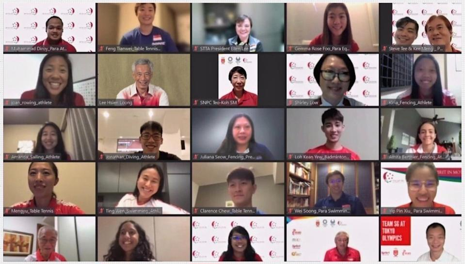 Prime Minister Lee Hsien Loong during the online session with Team Singapore athletes heading for the Tokyo Olympics and Paralympics. (PHOTO: Facebook/Lee Hsien Loong)