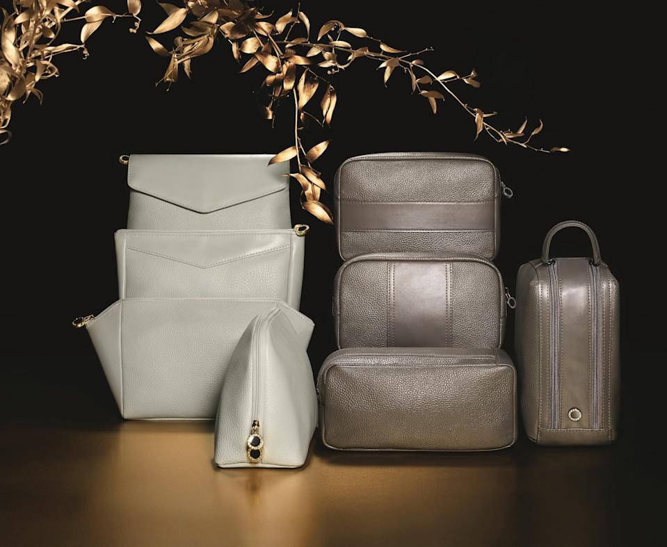 <p><span>Try to play it cool and hide the excitement of discovering one of these beautiful wash bags, packed full of goodies such as perfume and skincare essentials, on your seat during boarding. Emirates has partnered up with Bulgari to create these exclusive First Class kit bags, made from fine leather and available in eight designs. [Photo: Emirates]</span> </p>