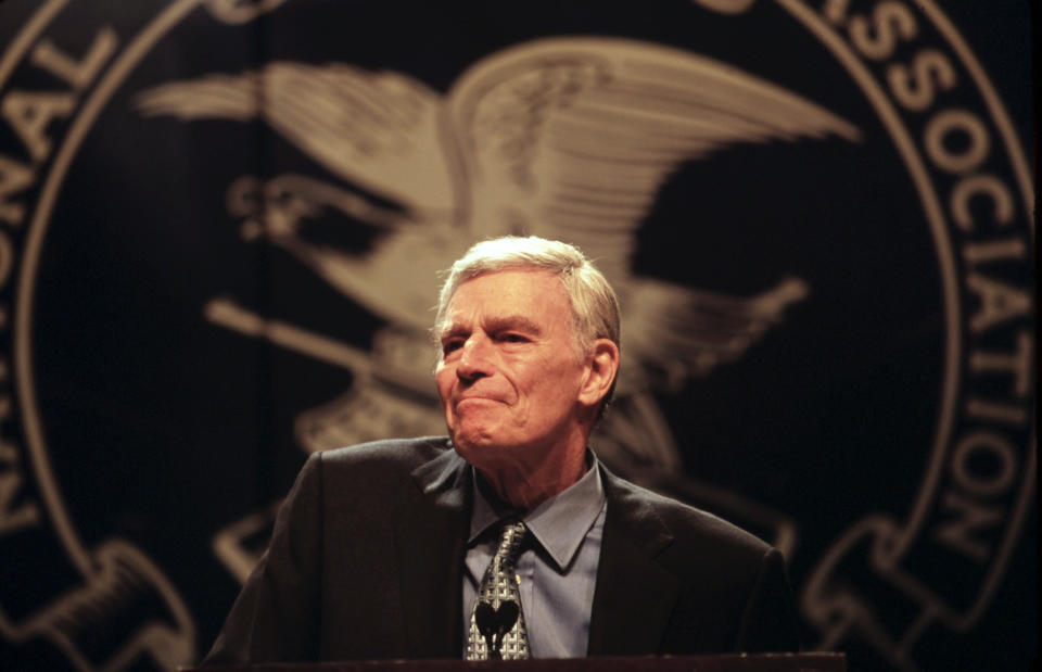 File Photo: Actor and National Rifle Association President Charlton Heston speaks at the NRA convention. Heston, 78, announced on August 9, 2002 that he has symptoms consistent with Alzheimer's disease, and is announcing it now because he may not be able to later. --- Photo by Mark Peterson/Corbis SABA (Photo by mark peterson/Corbis via Getty Images)