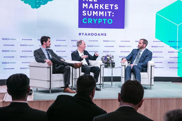 L-R: Yahoo Finance's Daniel Roberts and Andy Serwer interview Ripple CEO Brad Garlinghouse at the Yahoo Finance All Markets Summit: Crypto on Feb. 7, 2018. (Gino DePinto/Oath)