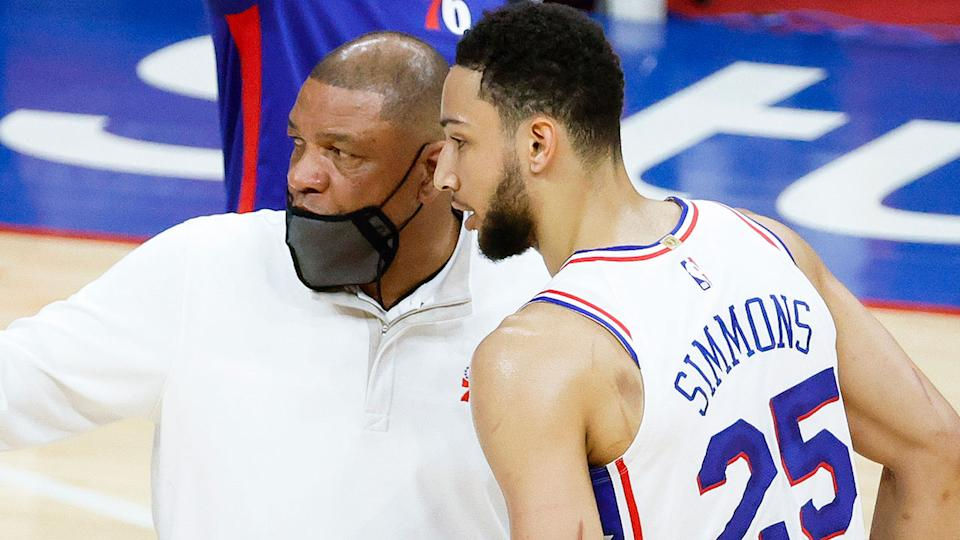 Pictured here, Ben Simmons is spoken to by Philadelphia coach Doc Rivers.