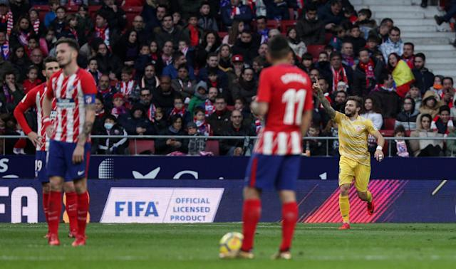 Soccer Football - La Liga Santander - Atletico Madrid vs Girona - Wanda Metropolitano, Madrid, Spain - January 20, 2018 Girona's Portu celebrates scoring their first goal REUTERS/Sergio Perez