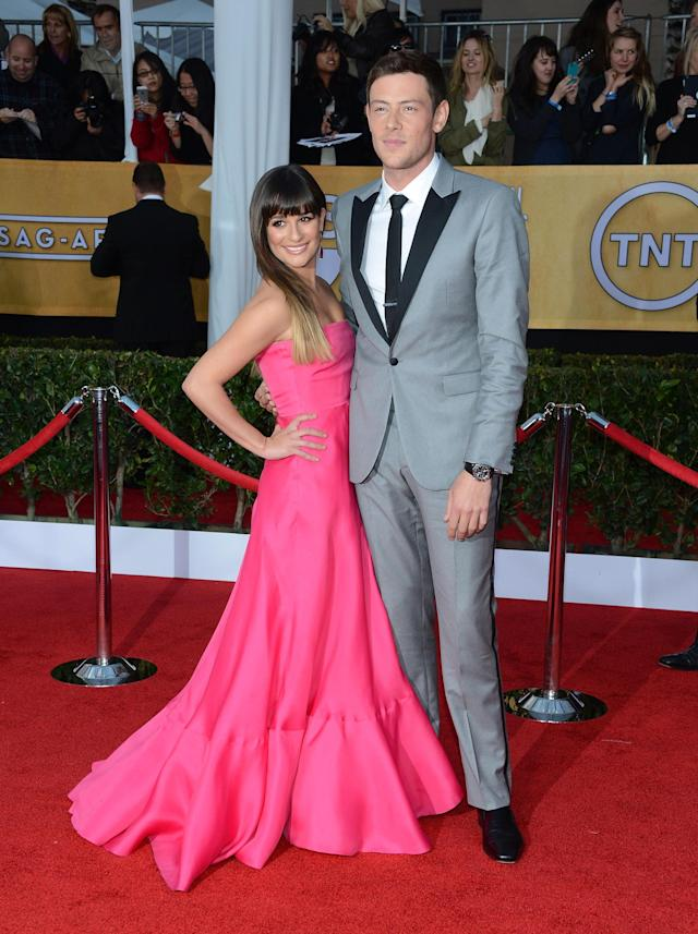 LOS ANGELES, CA - JANUARY 27: Actress Lea Michele and actor Cory Monteith attend the 19th Annual Screen Actors Guild Awards at The Shrine Auditorium on January 27, 2013 in Los Angeles, California. (Photo by Jason Kempin/Getty Images)