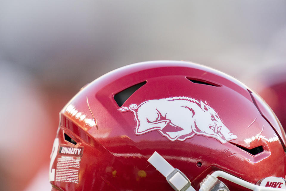 The Arkansas logo is displayed on a helmet before the start of an NCAA college football game against Texas A&M on Saturday, Oct. 31, 2020, in College Station, Texas. (AP Photo/Sam Craft)