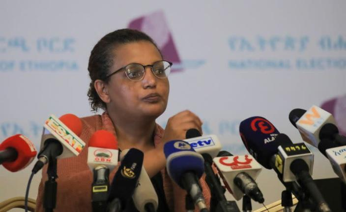 National Electoral Board of Ethiopia Chairperson, Birtukan Mideksa attends a news conference, in Addis Ababa