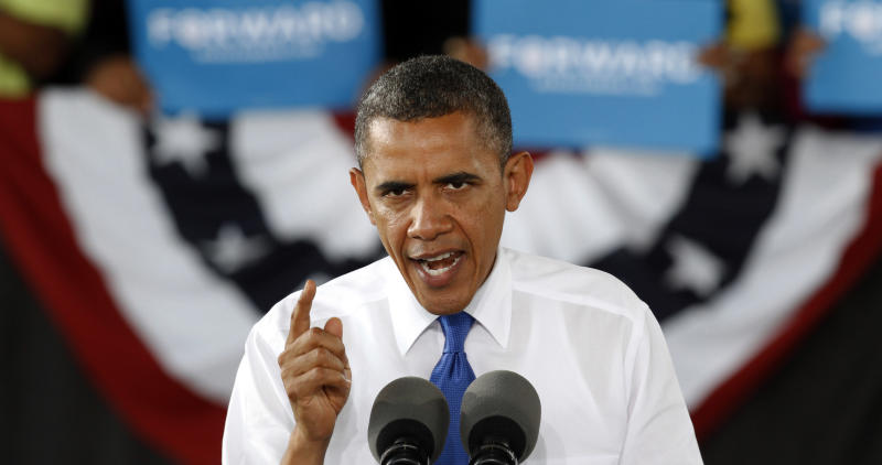 President Barack Obama gestures during a rally in Virginia Beach, Va., Thursday, Sept. 27, 2012. (AP Photo/Steve Helber)