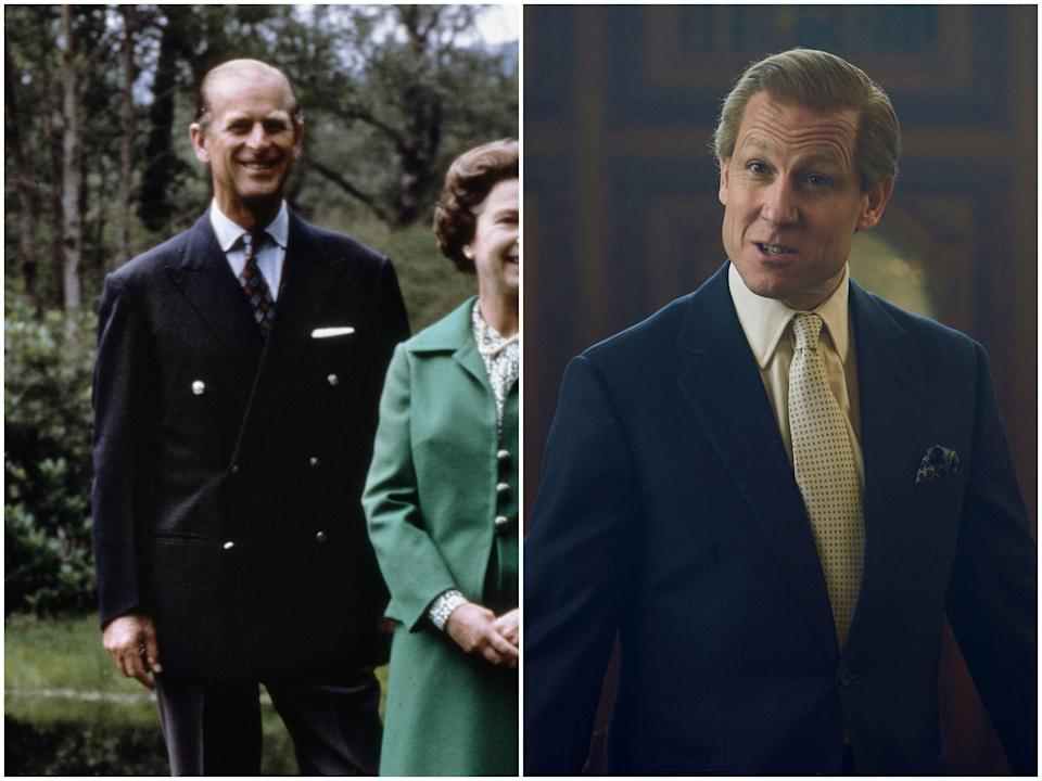 <p>Prince Philip in 1979, Tobias Menzies in 'The Crown' season four</p>Getty Images/Netflix