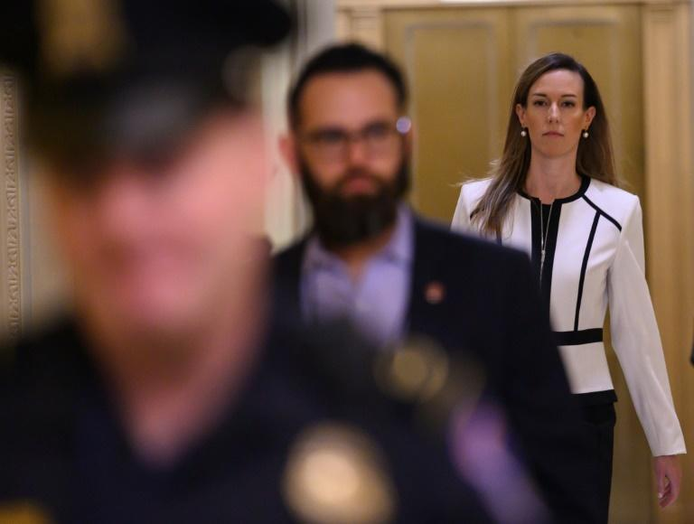 Jennifer Williams, an aide to US Vice President Mike Pence, arrives in Congress to testify in the impeachment inquiry against President Donald Trump (AFP Photo/ANDREW CABALLERO-REYNOLDS)