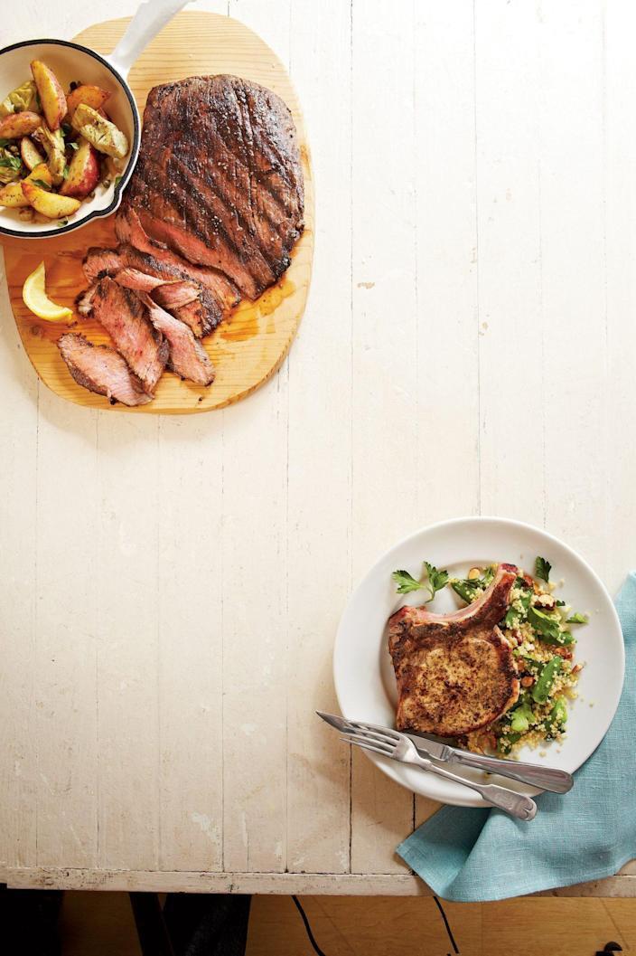 """<p><strong>Recipe: </strong><a href=""""https://www.southernliving.com/syndication/pork-chops-quinoa-salad"""" rel=""""nofollow noopener"""" target=""""_blank"""" data-ylk=""""slk:Lemon Pork Chops with Quinoa Salad"""" class=""""link rapid-noclick-resp""""><strong>Lemon Pork Chops with Quinoa Salad</strong></a></p> <p>Pork chops are a budget-friendly weeknight favorite, and this recipe is a healthier way to serve than frying. A light quinoa salad is the perfect pairing for them.</p>"""