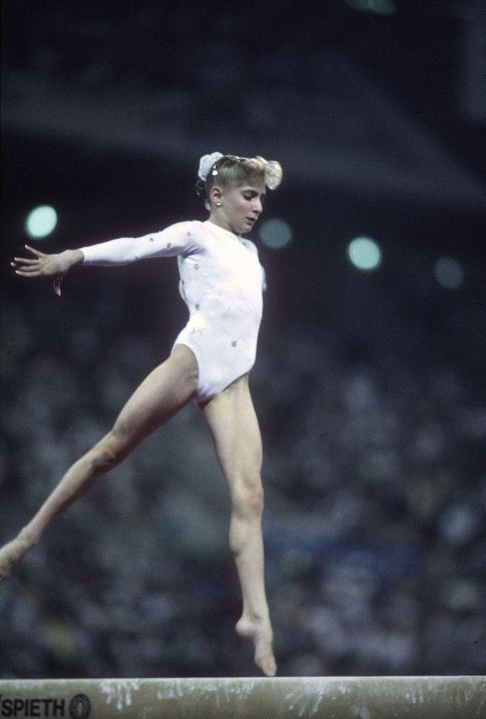 <p>All-around silver medalist Shannon Miller's beam performance was on point. </p>