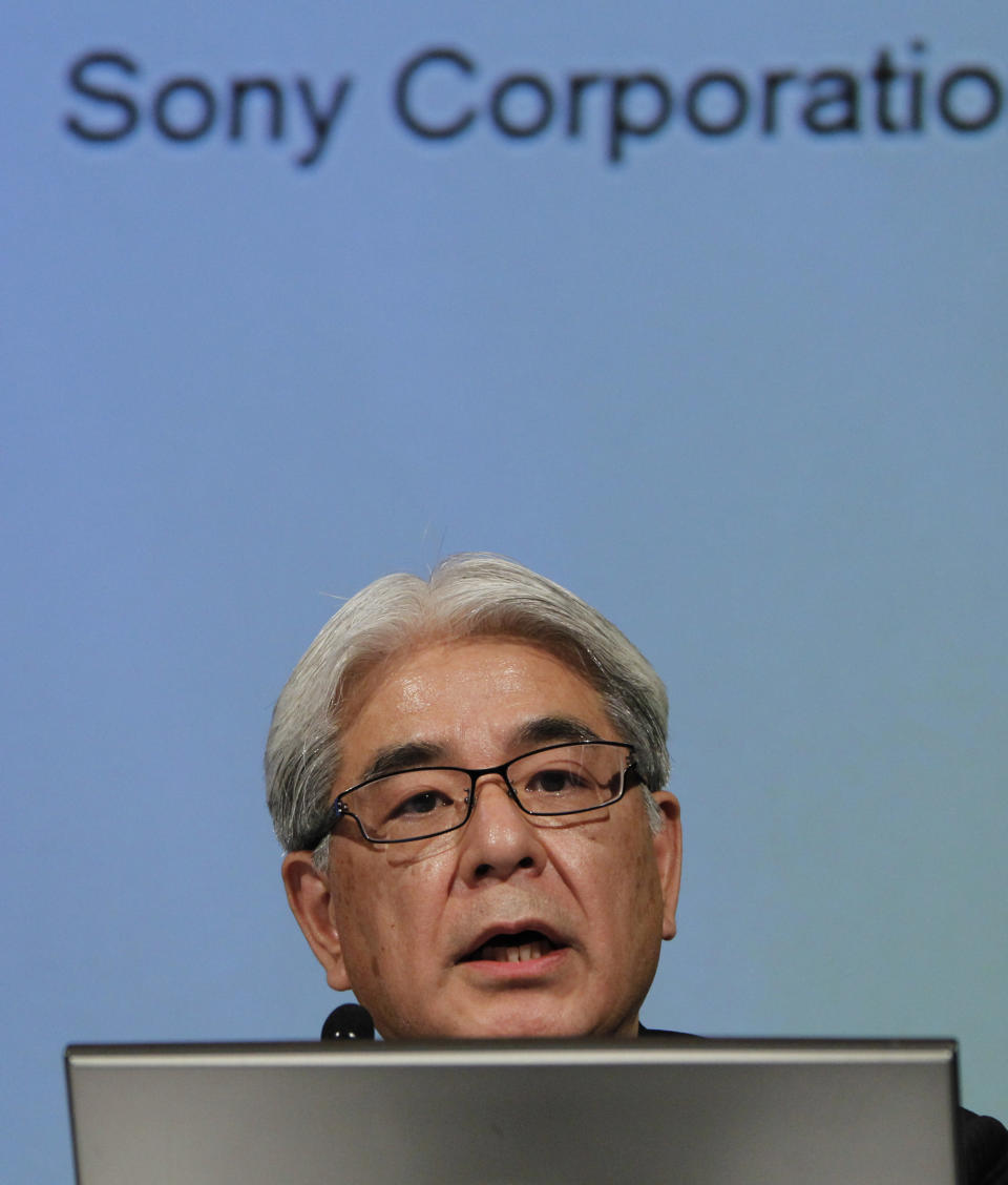 Sony Corp. Chief Financial Officer Masaru Kato speaks during a press conference at the headquarters of Sony Corp. in Tokyo Tuesday, April 10, 2012. Sony more than doubled Tuesday its projected annual loss to 520 billion yen ($6.4 billion), its worst red ink ever, due to a massive tax charge. (AP Photo/Koji Sasahara)