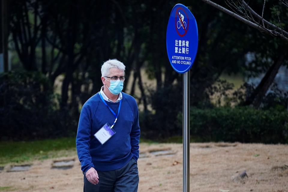 Dominic Dwyer walks near the team's hotel in Wuhan, Hubei province, earlier this month. Source: Reuters