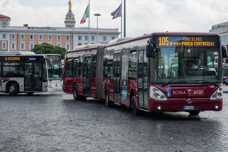 Rome, Italy - September 7, 2017: Atac bus. Tramways Company and Coach of the Municipality of Rome (Atac) is the company that provides public transport in Rome and its surrounding municipalities (Photo: Cineberg via Getty Images)