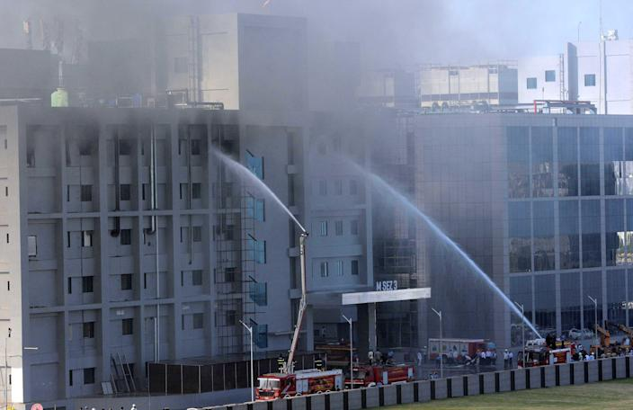Firemen douse a fire at the Serum Institute of India in Pune, India, on January 21, 2021. / Credit: Anadolu Agency/Getty