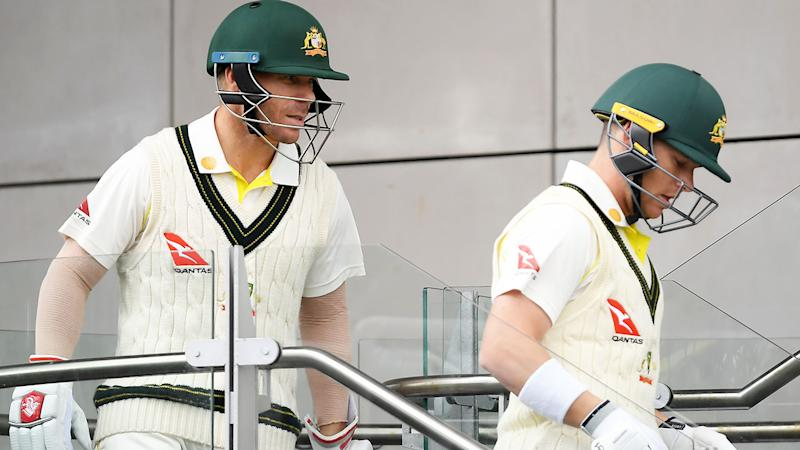 David Warner and Marcus Harris, pictured here walking out to bat during the Ashes series.