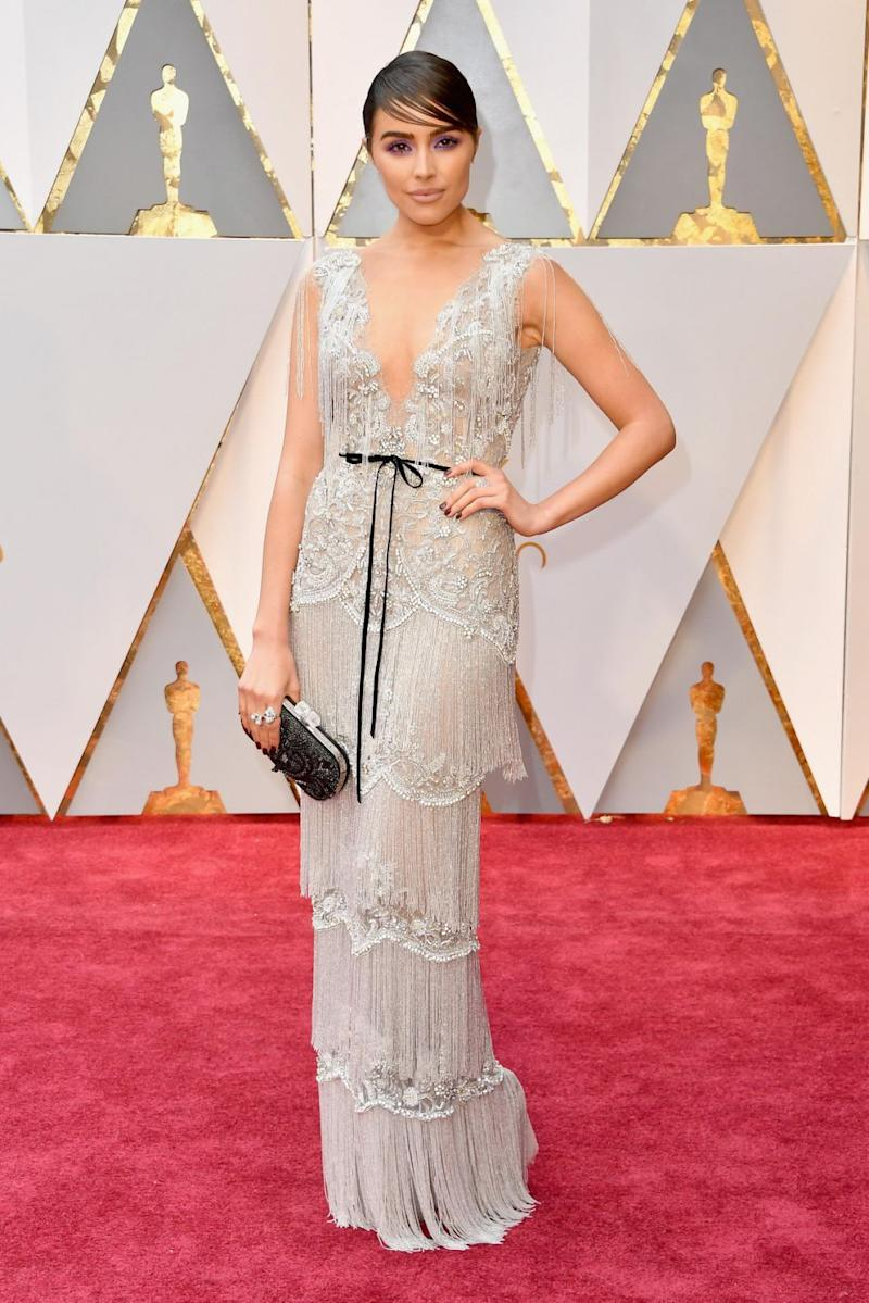Olivia Culpo wore a Marchesa gown to last year's Oscars. Photo: Getty Images
