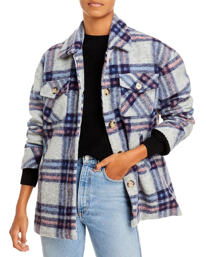 AQUA - Button Down Plaid Coat - 100% Exclusive