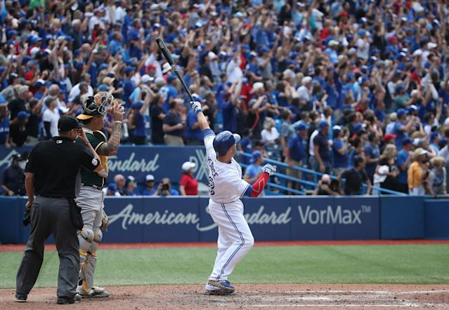 <p>The 2017 season was an utter disappointment for the Blue Jays, but there were still some good moments. Like Steve Pearce hitting a pair of walk-off grand slams four days apart… (Photo by Tom Szczerbowski/Getty Images) </p>