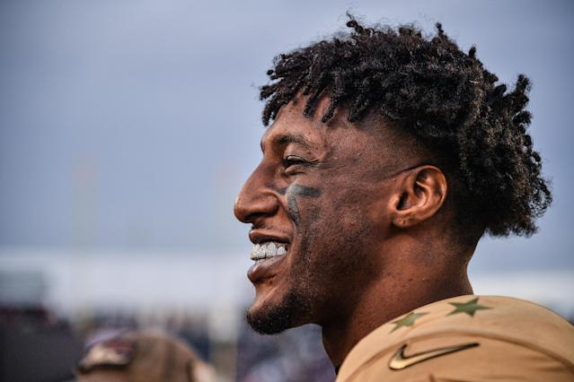 """Saints star Michael Thomas had a colorful reaction to ownership asking for players to put 35 percent of their 2020 salary into escrow. He tweeted: """"Lol everyone will sit out and not play until they get their stuff together before we do this. 😂"""" (Photo by Mark Brown/Getty Images)"""