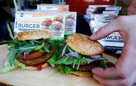 Two burgers made of buffalo worms (Alphitobius Diaperinus) by a German food start-up