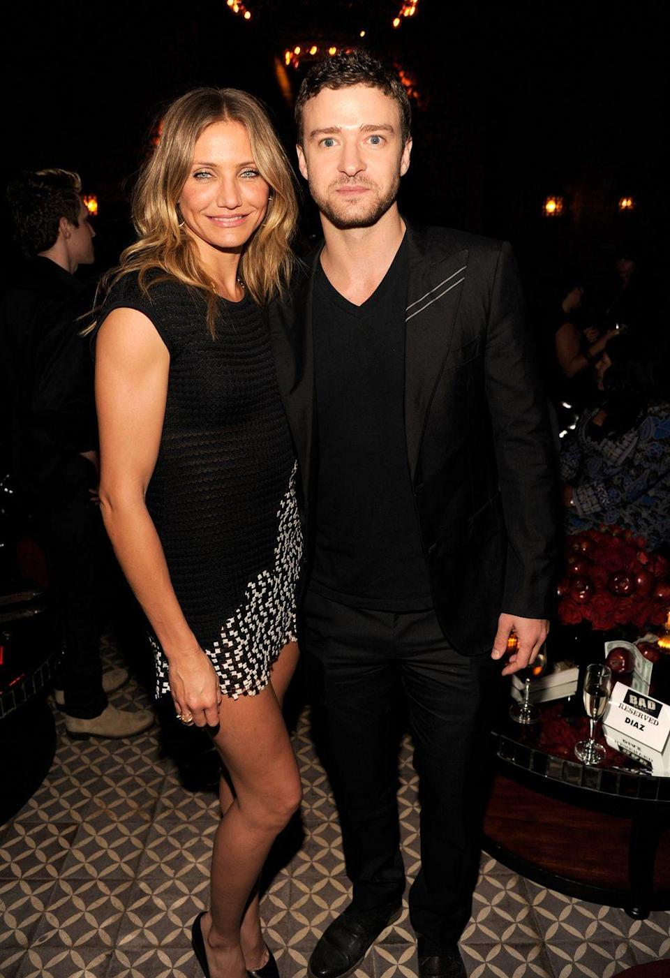 <p>Diaz and Timberlake began dating in 2003 and called it quits in 2007. Timberlake started dating now wife Jessica Biel shortly afterwards, but reunited with former flame Diaz for the comedy film <em>Bad Teacher</em>—in which they had a love scene. </p>