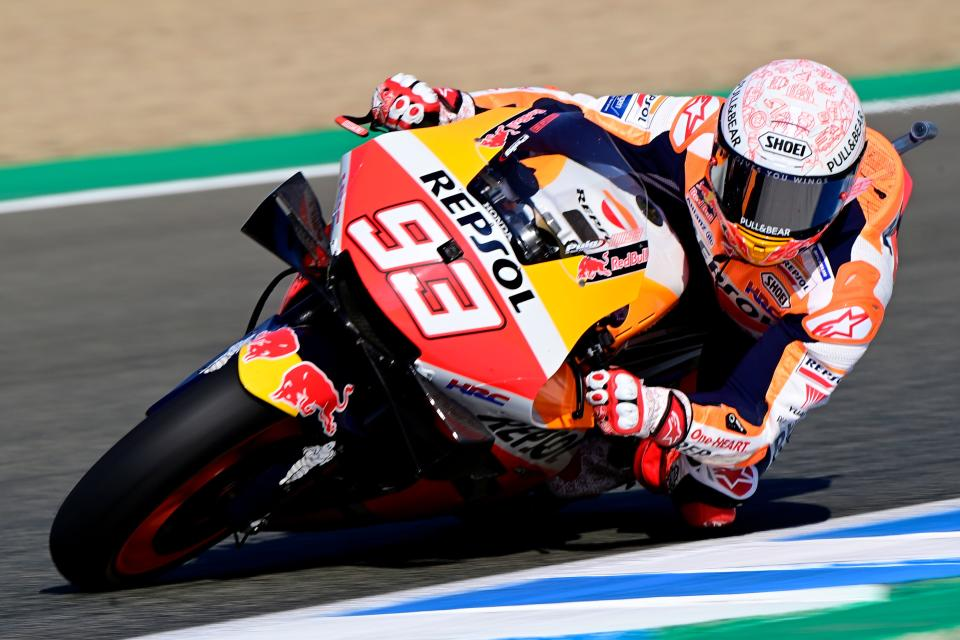 Repsol Honda Team's Spanish rider Marc Marquez rides during the third MotoGP free practice session of the Spanish Grand Prix at the Jerez racetrack in Jerez de la Frontera on July 18, 2020. (Photo by JAVIER SORIANO / AFP) (Photo by JAVIER SORIANO/AFP via Getty Images)