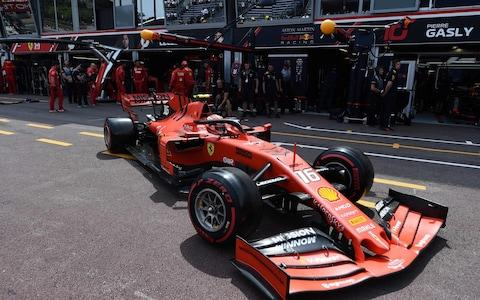 Ferrari's Monegasque driver Charles Leclerc leaves the pits during the qualifying session at the Monaco street circuit on May 25, 2019 in Monaco, ahead of the Monaco Formula 1 Grand Prix. - Credit: Boris Horvat/AFP