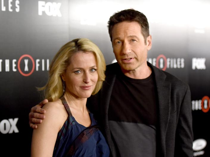 X-Files stars Gillian Anderson and David Duchovny reunited on Instagram with Anderson's dog, Stella. (Photo : Kevin Winter/Getty Images)