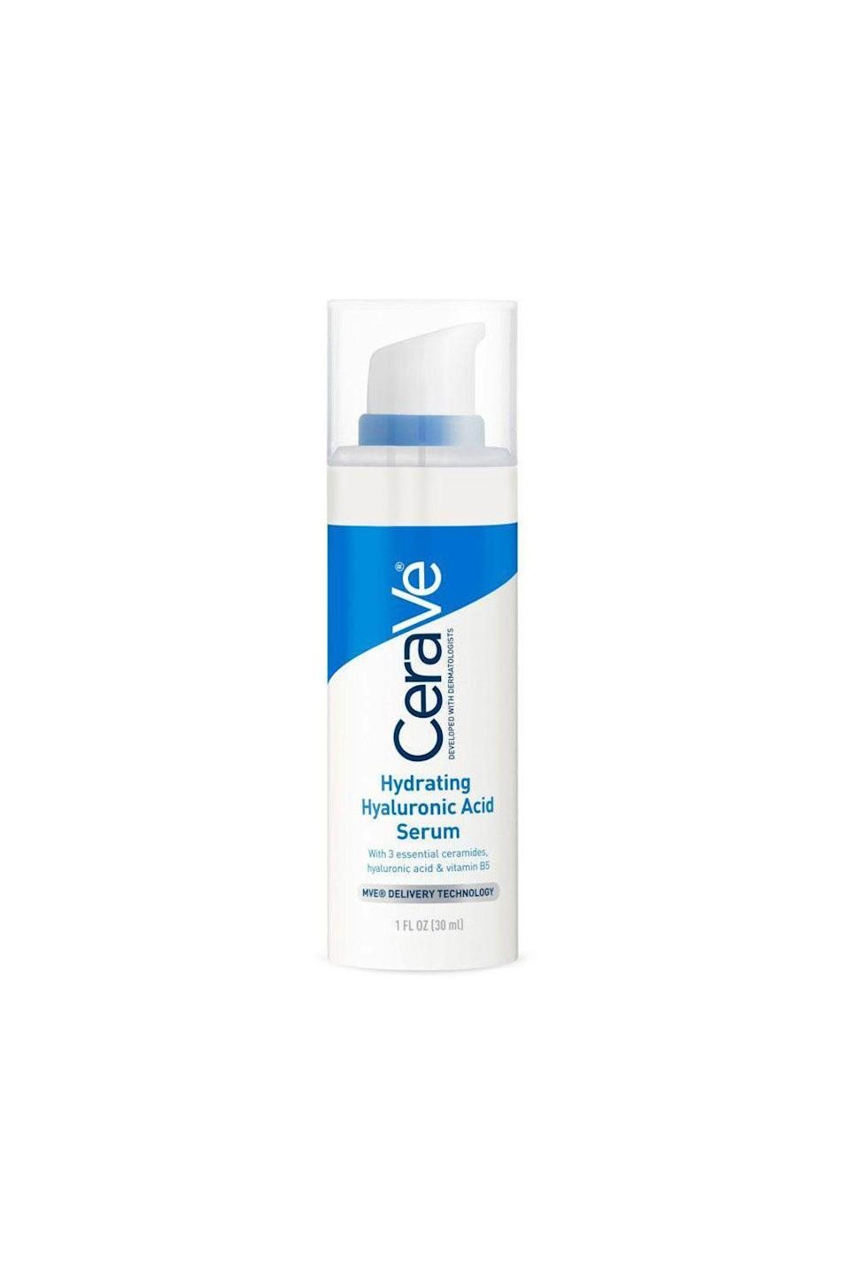 """<p><strong>CeraVe</strong></p><p>ulta.com</p><p><strong>$19.99</strong></p><p><a href=""""https://go.redirectingat.com?id=74968X1596630&url=https%3A%2F%2Fwww.ulta.com%2Fhydrating-hyaluronic-acid-face-serum%3FproductId%3Dpimprod2002096&sref=https%3A%2F%2Fwww.oprahdaily.com%2Fbeauty%2Fskin-makeup%2Fg27529759%2Fbest-hyaluronic-acid-serum%2F"""" rel=""""nofollow noopener"""" target=""""_blank"""" data-ylk=""""slk:SHOP NOW"""" class=""""link rapid-noclick-resp"""">SHOP NOW</a></p><p>A trusted brand, this CeraVe serum contains gentle ingredients that are better for sensitive skin, at a reasonable price, says Batra. It also contains vitamin B5 and ceramides to help reduce the appearance of fine lines and wrinkles.</p>"""