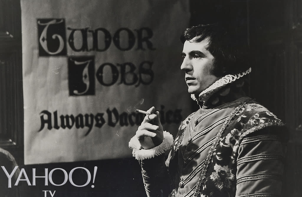 "<p>Terry Jones on set during filming of the <a rel=""nofollow"" href=""https://youtu.be/gTRlfsmZTiY"">""Tudor Jobs Agency"" sketch</a> for <em>Monty Python's Flying Circus</em>, Series 2, circa 1970. (Credit: Abrams Books) </p>"