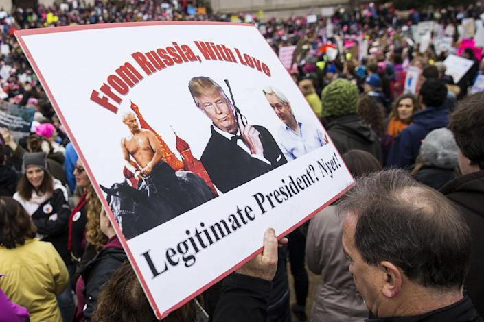 <p>A protestor holds a sign as he attends the Women's March in Washington, Jan. 21, 2017. (Photo: Samuel Corum/Anadolu Agency/Getty Images) </p>
