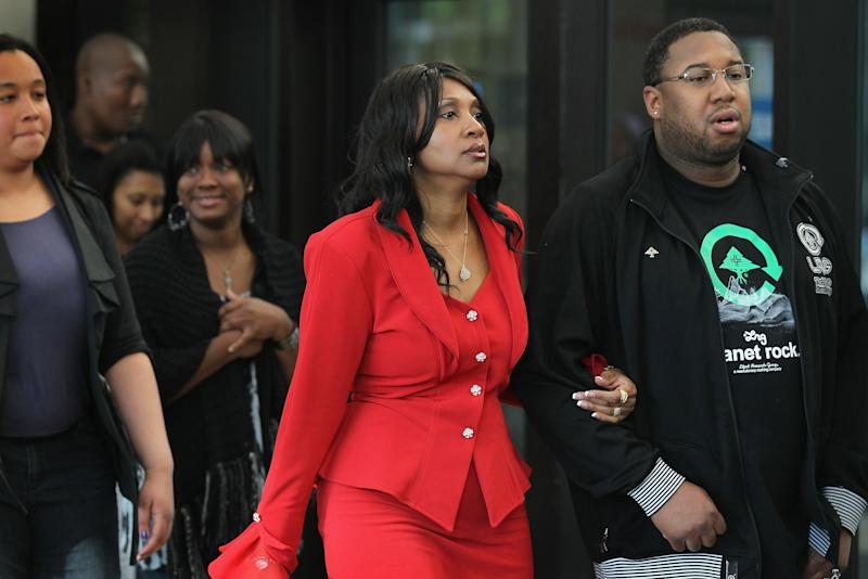 CHICAGO, IL - MAY 11:  Hudson family and friends walk from the courtroom after learning a jury found William Balfour guilty of the October 2008 shooting deaths of the mother, brother and nephew of Oscar-winner Jennifer Hudson May 11, 2012 in Chicago, Illinois.  Balfour, the ex-husband of Hudson's sister, was convicted on all of the counts against him, including three counts of first-degree murder, one count of home invasion, one count aggravated kidnapping, one count residential burglary, and one count possession of a stolen motor vehicle.  (Photo by Scott Olson/Getty Images)