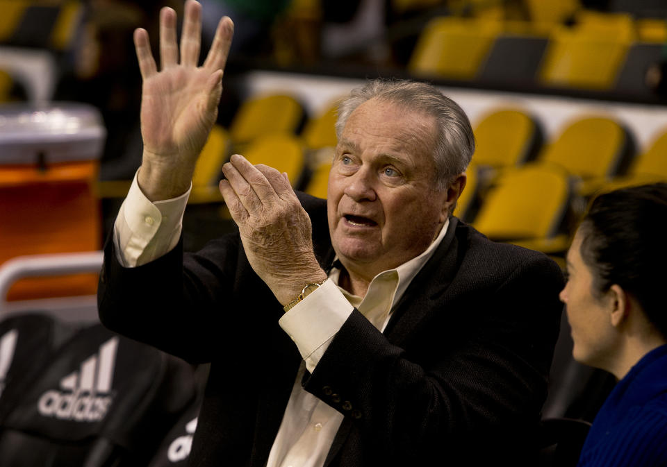Hall of Fame Celtic and broadcaster Tom Heinsohn is pictured at TD Garden. (Photo by Stan Grossfeld/The Boston Globe via Getty Images)