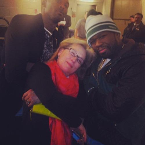 <p>Hollywood royalty Meryl Streep and rapper 50 Cent hit it off when they were seated next to eachother a basketball game in January 2014.<br />The pair got along like a house on fire and were holding hands and sharing cuddles by the end of the match.</p>