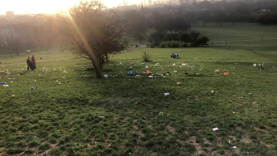 Litter covered Primrose Hill in Regent's Park London. (SWNS)