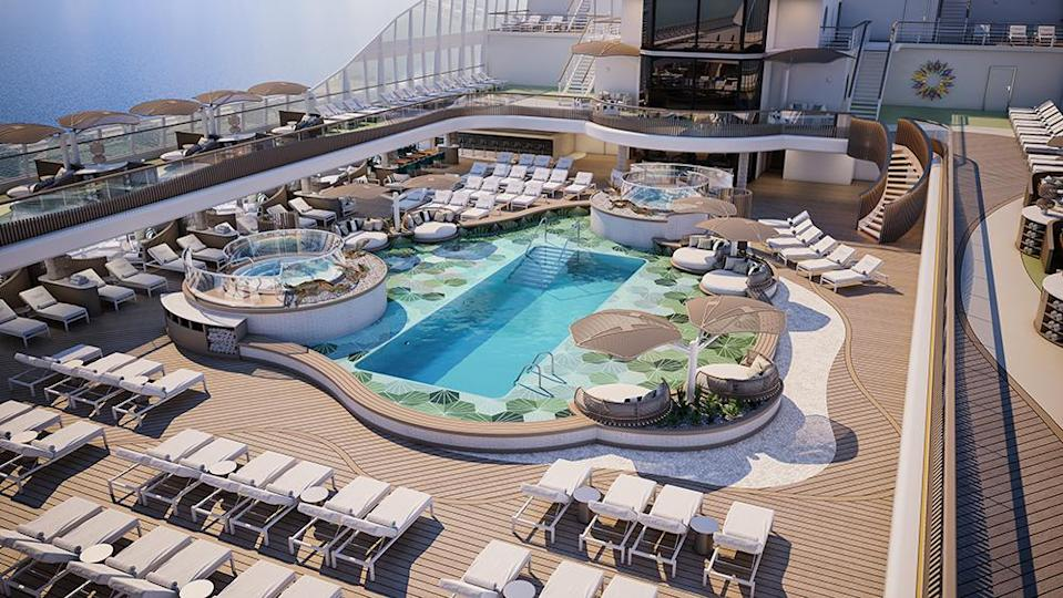 The pool deck sports lounges and cabanas for sunbathing. - Credit: Oceania Cruises