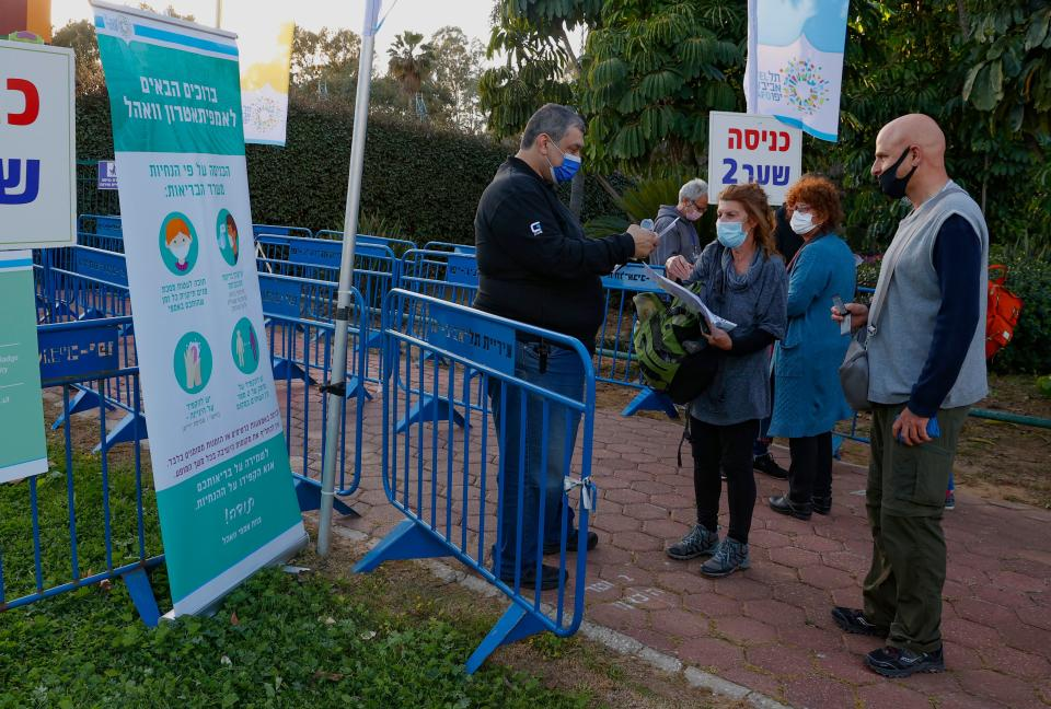 Officials checking green passes to allow entry to the concert. (Getty)