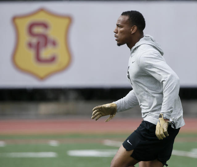 Southern California cornerback Iman Marshall runs through a drill during USC Pro Day, Wednesday, March 19, 2019, in Los Angeles. The Pro Day is intended to showcase talent to NFL scouts for the upcoming draft. (AP Photo/Alex Gallardo)