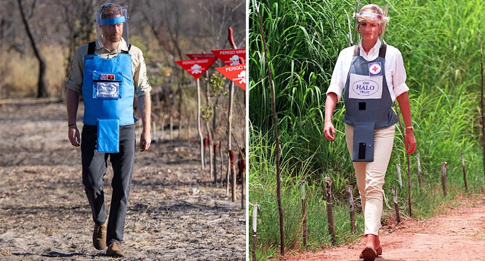 Prince Harry walks across a minefield in Angola, 22 years after his late mother Princess Diana did so in 1997. [Photo: PA]