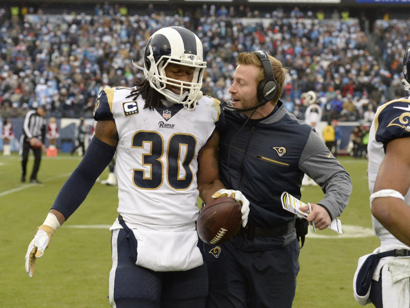 Running back Todd Gurley and coach Sean McVay lead the Rams back into the playoffs. (AP)