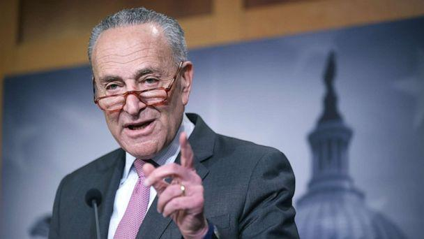 PHOTO: Senate Minority Leader Charles Schumer (D-NY) calls on reporters during a news conference at the Capitol, Jan. 22, 2020. (Chip Somodevilla/Getty Images)
