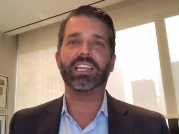 <p>Donald Trump Jr speaking in a video posted to Rumble on Monday</p> (Donald Trump Jr / Rumble)