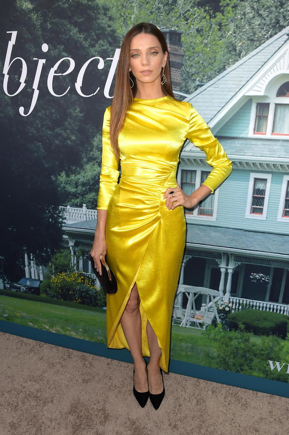 <p>Angela Sarafyan joined the A-list crowd for the premiere of 'Sharp Objects' on June 26 in a summer-ready dress by Rasario in a serious pop of yellow. <em>[Photo: Getty]</em> </p>