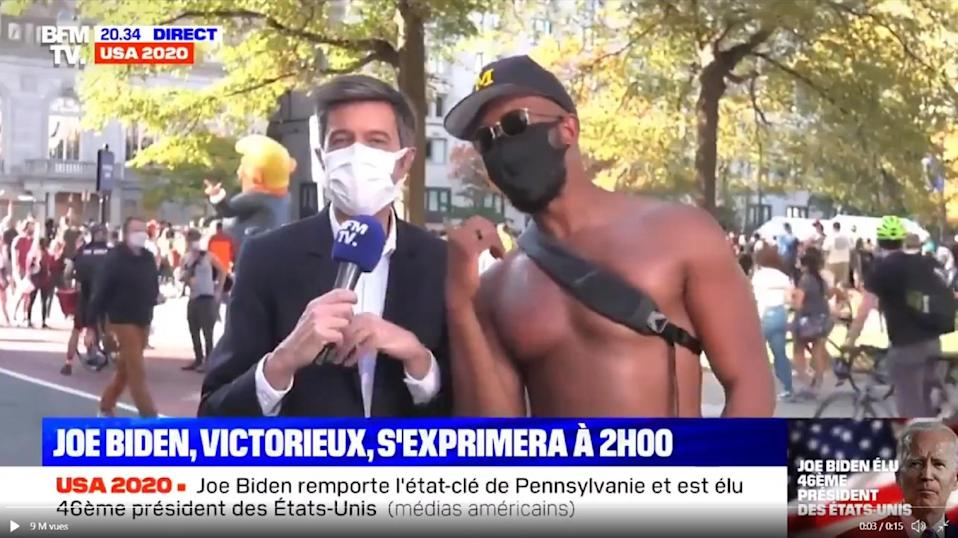 Maxime Switek got more than he bargained for when he asked Meka Anyanetu (right) to answer a few questions on live TV following Joe Biden's victory.