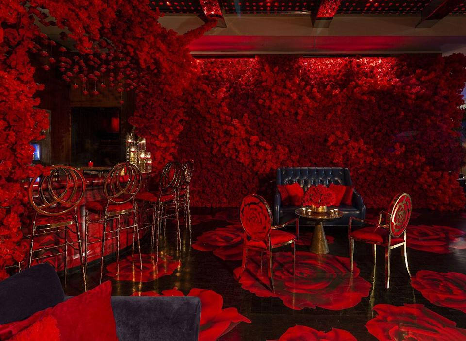 <p>If all the snow and ice is getting you down, immerse yourself in a floral wonderland this season at this ruby red installation at The Lobby Bar at Dream Downtown. Transformed with 15,000 red roses, floral furniture, decor, candles, and more, the bar also sports some appropriately rosy libations, including a Primrose Cider with sparkling rosé, Barking Irons Applejack, cinnamon syrup, lemon Juice, and a rose ice cube.</p><p><em>Open through March 2020. 355 W 16th Street. </em></p>